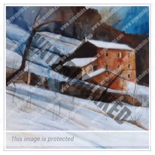 Thumbnail - Farmhouse - Michele Righetti Art Singapore - Winter Landscapes